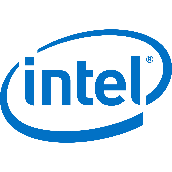 intel logo. A circle and text: intel written in blue.