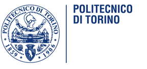 Politchnico di Torino logo. A circle showing a drawn picture of a bulding and coat of arms. There are two years in the lower half of the circle, 1859 and 1906,