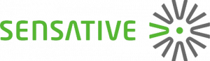 Sensative logo. The word sensative written in green and a circle of V's